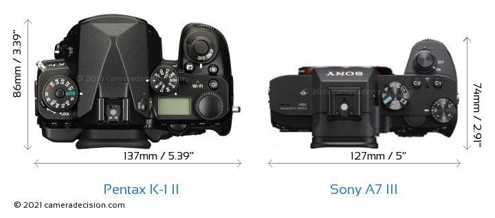 Pentax K-1 II vs Sony A7 III Camera Size Comparison - Top View
