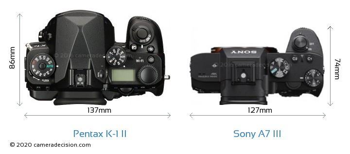 Pentax K-1 II vs Sony A7 III Camera Size Comparison - Top View