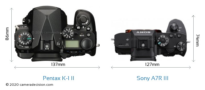 Pentax K-1 II vs Sony A7R III Camera Size Comparison - Top View