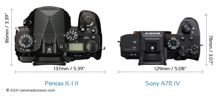 Pentax K-1 II vs Sony A7R IV Camera Size Comparison - Top View