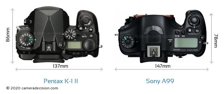 Pentax K-1 II vs Sony A99 Camera Size Comparison - Top View