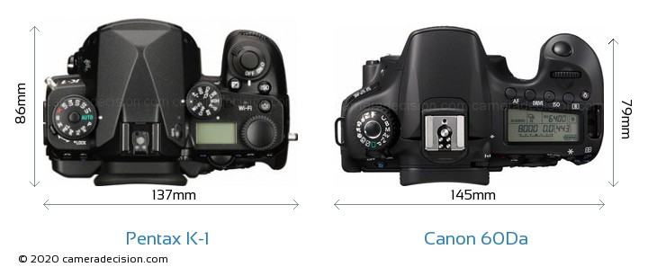 Pentax K-1 vs Canon 60Da Camera Size Comparison - Top View