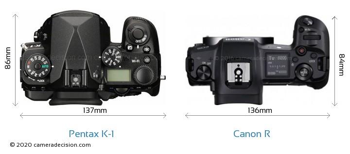 Pentax K-1 vs Canon R Camera Size Comparison - Top View