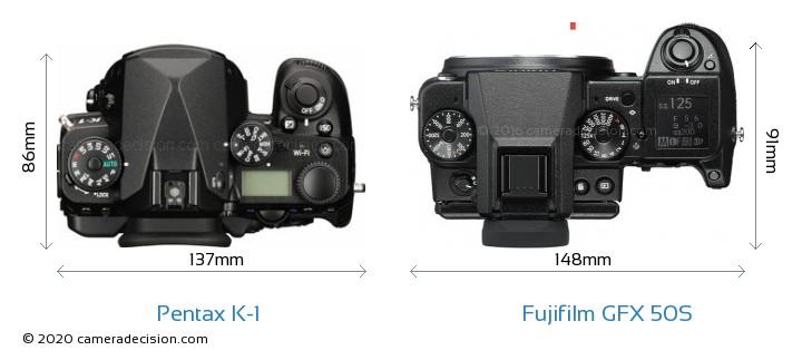 Pentax K-1 vs Fujifilm GFX 50S Camera Size Comparison - Top View