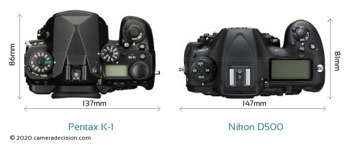Pentax K-1 vs Nikon D500 Camera Size Comparison - Top View