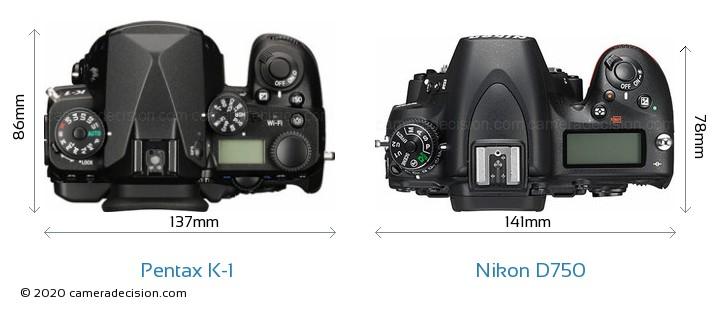 Pentax K-1 vs Nikon D750 Camera Size Comparison - Top View