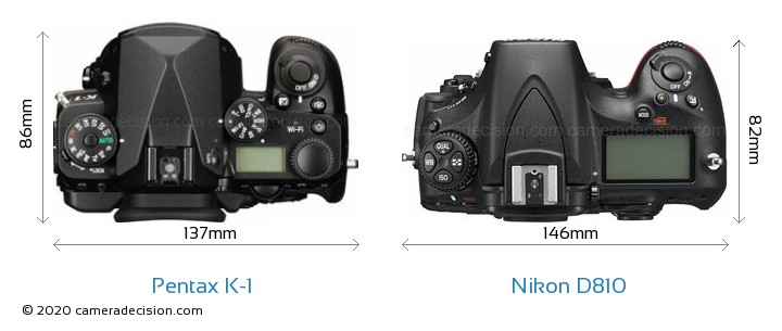 Pentax K-1 vs Nikon D810 Camera Size Comparison - Top View