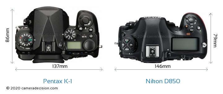 Pentax K-1 vs Nikon D850 Camera Size Comparison - Top View
