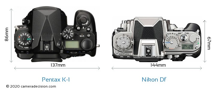 Pentax K-1 vs Nikon Df Camera Size Comparison - Top View