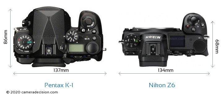 Pentax K-1 vs Nikon Z6 Camera Size Comparison - Top View