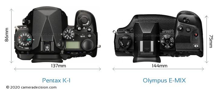 Pentax K-1 vs Olympus E-M1X Camera Size Comparison - Top View