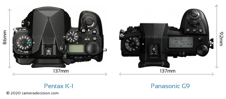 Pentax K-1 vs Panasonic G9 Camera Size Comparison - Top View