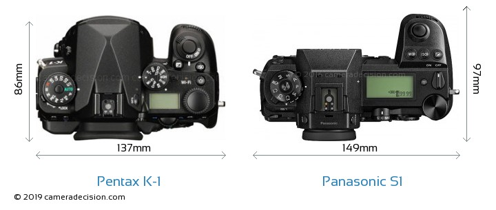 Pentax K-1 vs Panasonic S1 Camera Size Comparison - Top View