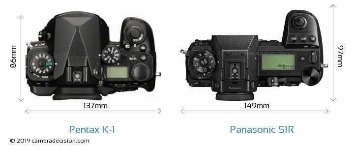 Pentax K-1 vs Panasonic S1R Camera Size Comparison - Top View