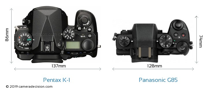 Pentax K-1 vs Panasonic G85 Camera Size Comparison - Top View