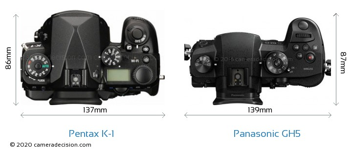 Pentax K-1 vs Panasonic GH5 Camera Size Comparison - Top View