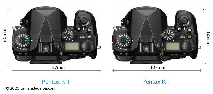 Pentax K-1 vs Pentax K-1 Camera Size Comparison - Top View