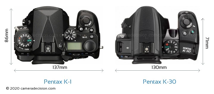 Pentax K-1 vs Pentax K-30 Camera Size Comparison - Top View