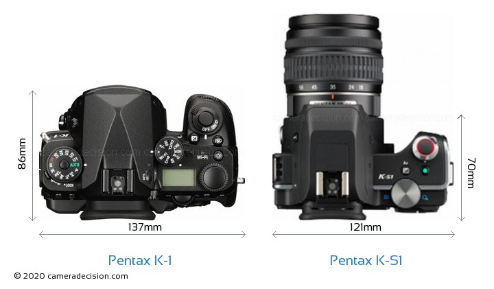 Pentax K-1 vs Pentax K-S1 Camera Size Comparison - Top View