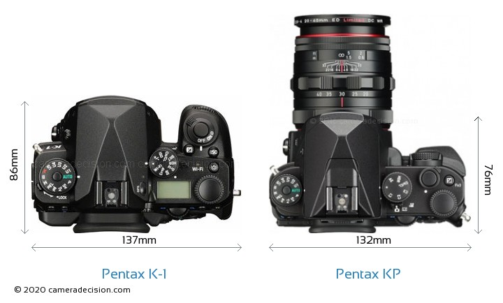 Pentax K-1 vs Pentax KP Camera Size Comparison - Top View