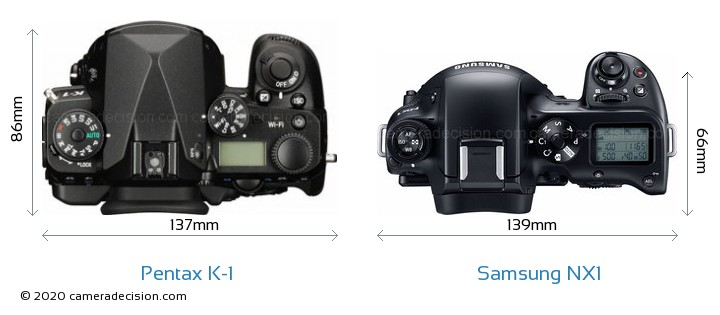 Pentax K-1 vs Samsung NX1 Camera Size Comparison - Top View
