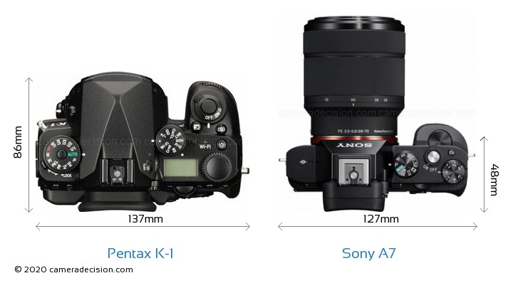 Pentax K-1 vs Sony A7 Camera Size Comparison - Top View