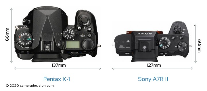 Pentax K-1 vs Sony A7R II Camera Size Comparison - Top View
