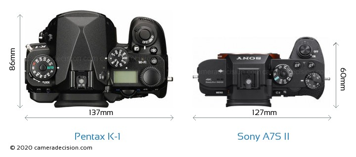 Pentax K-1 vs Sony A7S II Camera Size Comparison - Top View