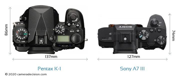 Pentax K-1 vs Sony A7 III Camera Size Comparison - Top View