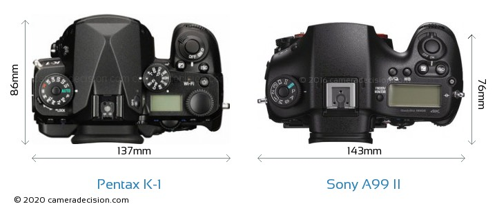 Pentax K-1 vs Sony A99 II Camera Size Comparison - Top View