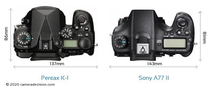 Pentax K-1 vs Sony A77 II Camera Size Comparison - Top View