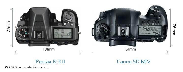 Pentax K-3 II vs Canon 5D MIV Camera Size Comparison - Top View