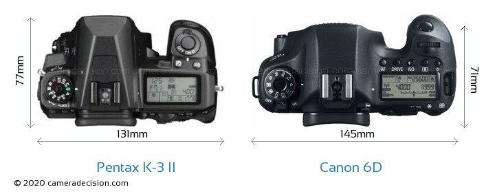 Pentax K-3 II vs Canon 6D Camera Size Comparison - Top View