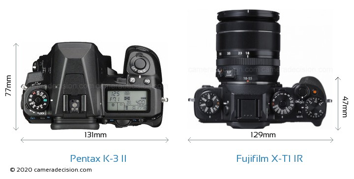 Pentax K-3 II vs Fujifilm X-T1 IR Camera Size Comparison - Top View