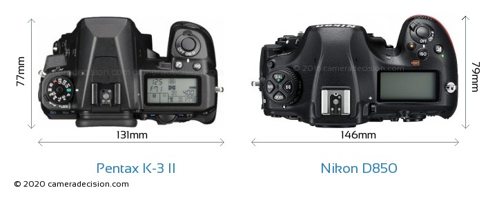 Pentax K-3 II vs Nikon D850 Camera Size Comparison - Top View