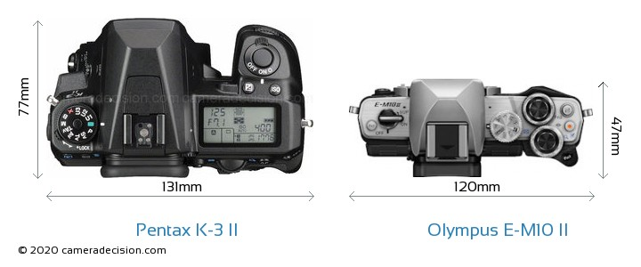 Pentax K-3 II vs Olympus E-M10 II Camera Size Comparison - Top View