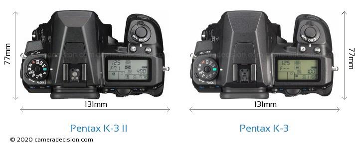Pentax K-3 II vs Pentax K-3 Camera Size Comparison - Top View