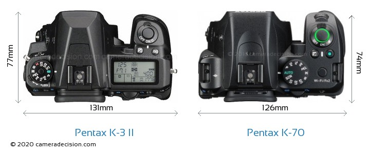 Pentax K-3 II vs Pentax K-70 Camera Size Comparison - Top View