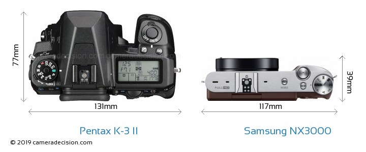 Pentax K-3 II vs Samsung NX3000 Camera Size Comparison - Top View