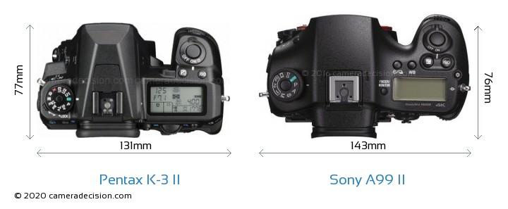 Pentax K-3 II vs Sony A99 II Camera Size Comparison - Top View