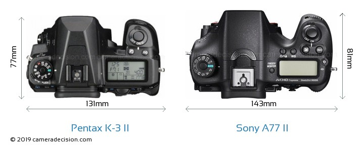 Pentax K-3 II vs Sony A77 II Camera Size Comparison - Top View