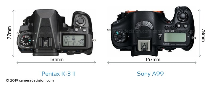 Pentax K-3 II vs Sony A99 Camera Size Comparison - Top View