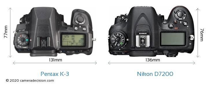 Pentax K-3 vs Nikon D7200 Camera Size Comparison - Top View