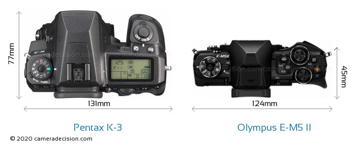 Pentax K-3 vs Olympus E-M5 II Camera Size Comparison - Top View