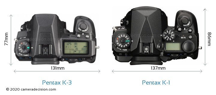 Pentax K-3 vs Pentax K-1 Camera Size Comparison - Top View