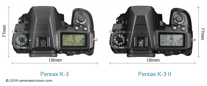 Pentax K-3 vs Pentax K-3 II Camera Size Comparison - Top View
