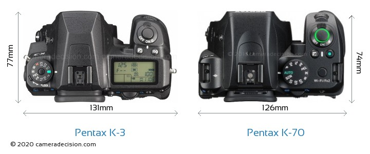 Pentax K-3 vs Pentax K-70 Camera Size Comparison - Top View