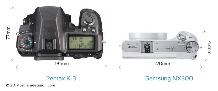 Pentax K-3 vs Samsung NX500 Camera Size Comparison - Top View