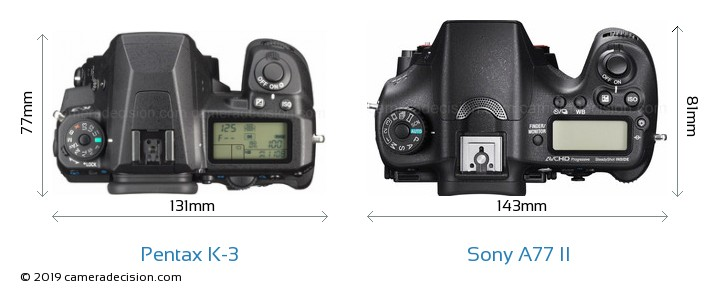Pentax K-3 vs Sony A77 II Camera Size Comparison - Top View