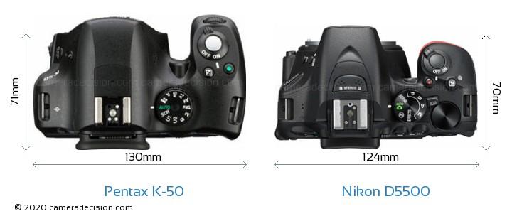 Pentax K-50 vs Nikon D5500 Camera Size Comparison - Top View